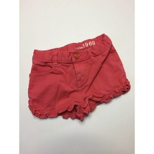 Gap Pink Denim Ruffle Cotton Shorts Ruffle Hem 5